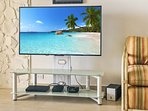 4K HD 50' TV with Cable and blue ray DVD.