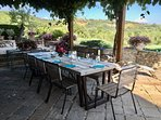 Our door terrace perfect for long lunches and dinners with views of Umbrian hills