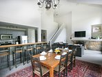Open concept kitchen/dining/living area