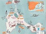 Mapa de la isla... Can Javi de Palma en La Mola.