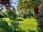 Jardin clos, son salon de jardin et ses chaises longues