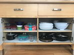 2nd floor kitchen pots pans and bowls