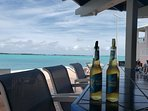 Outdoor bar at Club Peace & Plenty with view of Elizabeth Habour.