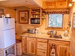 New 'Bunkhouse' kitchenette, microwave, toaster oven, hot plate, small refrigerator/freezer