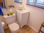 New 'Bunkhouse' 3/4 Bath with toilet, sink, shower, medicine cabinet