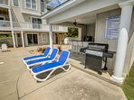 Gas Grill and seating in Private Pool Area