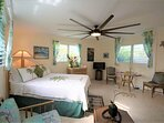Surrounded by tradewinds coming through 3 windows and the oversized fan will keep the breeze flowing