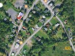 Satellite view of the town & area - red marker is for our House