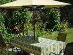 Summer dining in shared garden