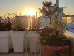 Terrasse pendant le coucher de soleil
