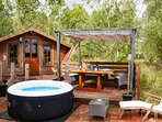 Private deck with hot tub, BBQ, fire pit and deckchairs