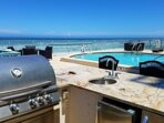 Ocean front pool side with BBQ Grill Station.