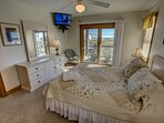 Mid-Level Queen Bedroom with Deck Access, shares access to Jack and Jill Hall Bathroom