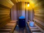 The inside of the cedar Finnish Sauna
