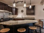 Updated Kitchen with Breakfast Bar for 4, Full Size Stainless Steel Appliances, Granite Countertops and Small...