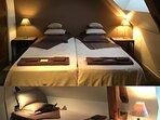Chambre LOUIS à l'étage avec 3 lits simples