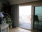 Private balcony with hurricane rated sliding glass doors