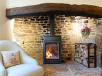...with a cosy wood burning stove