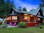 3 Level log Chalet on Ocean with 2 Storey Stone Fireplace