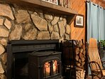 Our cozy, wood burning stove for chilly nights.