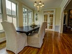 Dining room seating facing window