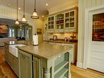 Island sink and solid countertop