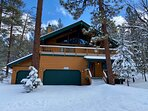 Snow covered Big Bear Cool Cabins, Summit Adventure