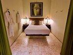 Main floor sleeping area with Queen bed