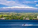 View of our snow capped Mauna Kea from Hilo Bay