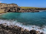 Enjoy the green sand beach on the south side filled with olivine crystals