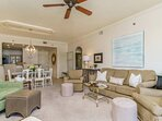 Open Floor Plan for great conversations throughout the Living Room, Dining Room & Kitchen