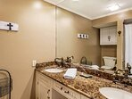 Master Bedroom Ensuite with Tub & Shower Combo and Double Vanity Sinks