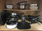 Pots and pans available for cooking at the house.