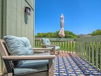 Settle into the comfy chairs on the bedroom deck and enjoy your morning coffee.
