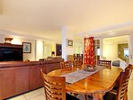 Large dining area, with 6 seater dining table.