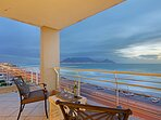 Under-cover section of the balcony with spectacular views of Table Mountain and the Atlantic Ocean.