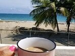 Puerto Rician Coffee on the beach house rooftop!