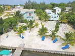 common ground private beach area lounge chairs with 110' dock for excellent sunset or swimming