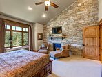 Grand Master Bedroom Suite with King Bed, Smart TV, Fireplace, and Large Private Bath
