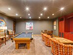 Game Room with Pool Table, Smart TV/Blue Ray DVD/Surround Sound, and Custom Wet Bar on the Lower Level