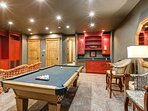 Game Room with a Pool Table and Custom Wet Bar on the Lower Level
