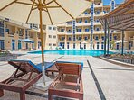 Sun loungers and umbrellas are everywhere around the four swimming pools so find your very own spot.